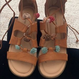Maurices Tan Pom Pom Lace Up Ankle Sandals